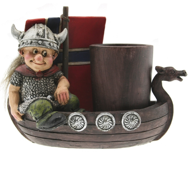 Image of Viking in a boat, toothpick holder