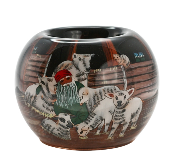 Image of Candle holder santa with horse and sheep
