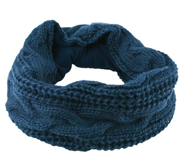Image of Neck gaiter knitted with braid pattern blue