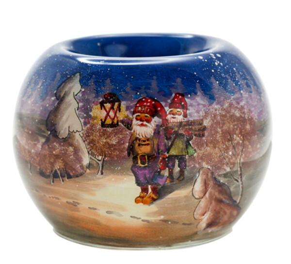 Image of Tealight holder hand painted, santawith lantern