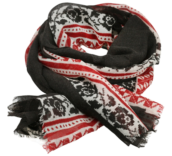 Image of Wool scarf Hurdalsrose charcoal grey
