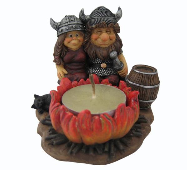 Image of Viking couple, candle holder