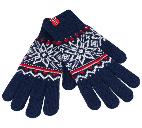 Image of Knitted gloves star pattern blue/white/red