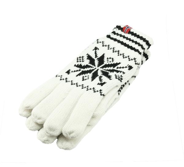 Image of Knitted gloves star pattern white/black