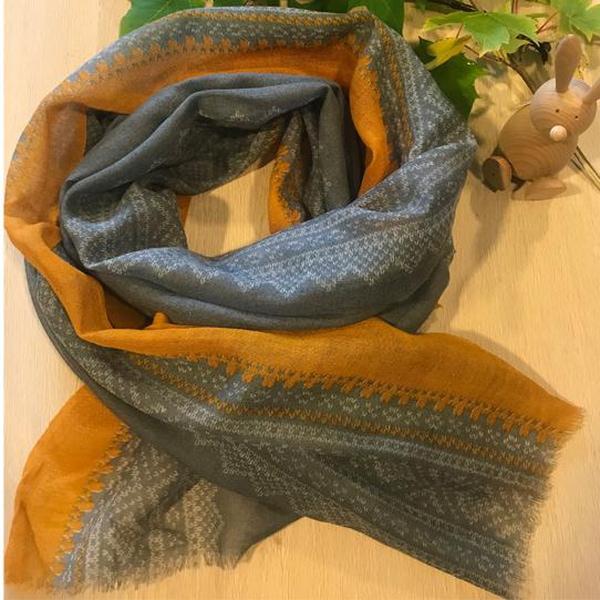 Image of Wool scarf ,Marius®,grey/white/ mustard,