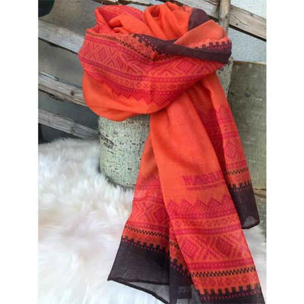 Image of Marius® scarf, dark coral/blue/pink.