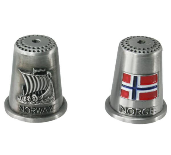 Image of Thimble, Flag and vikingship, Norge, Norway