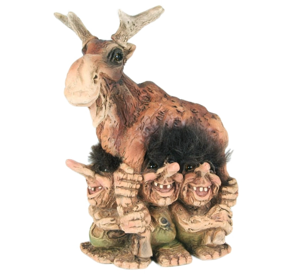 Image of Four trolls with moose (Troll # 307)
