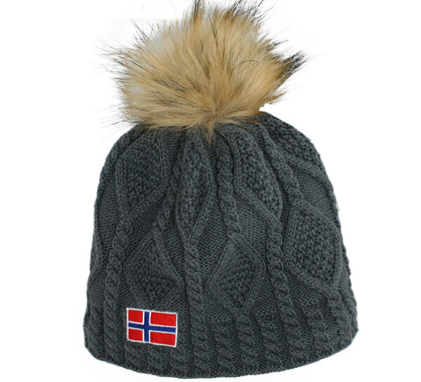Image of Knitted hat with braid pattern and flag, tassel