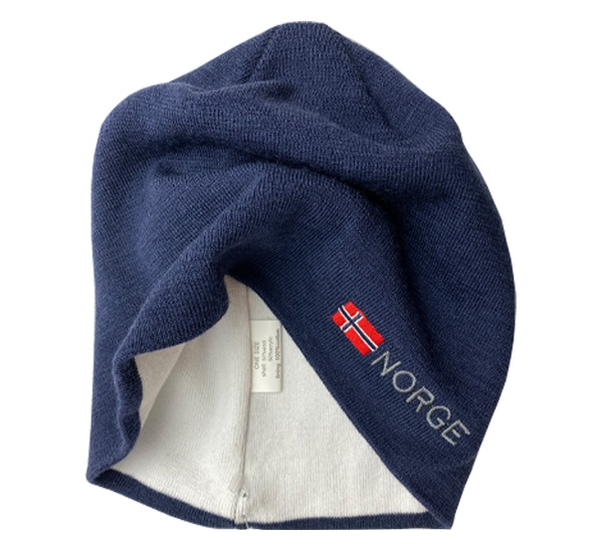 Image of Hat with flag and Norge, blue