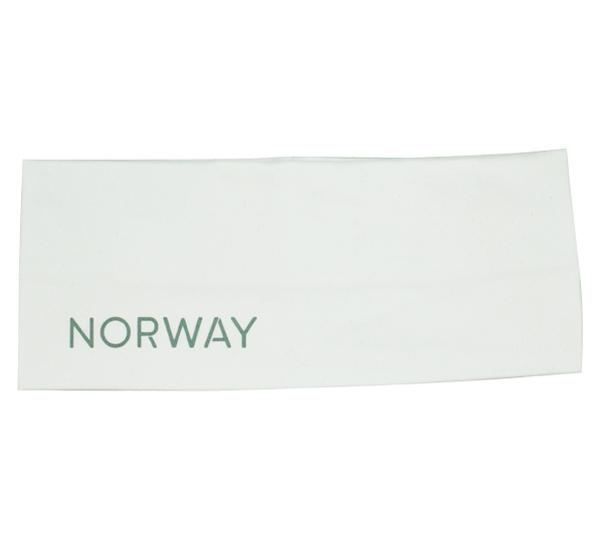 Image of Headband, reflective text; Norway white/grey