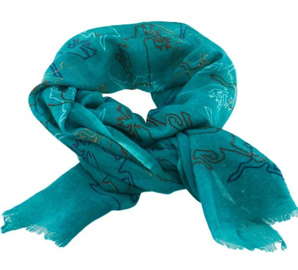 Image of Wool scarf Reindeer turquoise