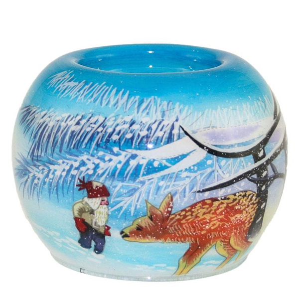 Image of Tealight holder, hand-painted, santa with deer