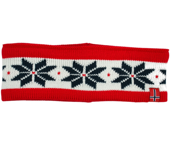Image of Headband knitted with starpattern red/white/dark