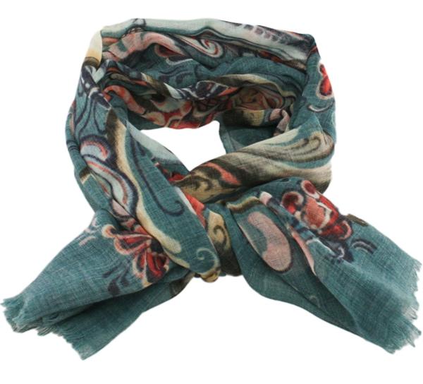 Image of Wool scarf Rosemaling petrol