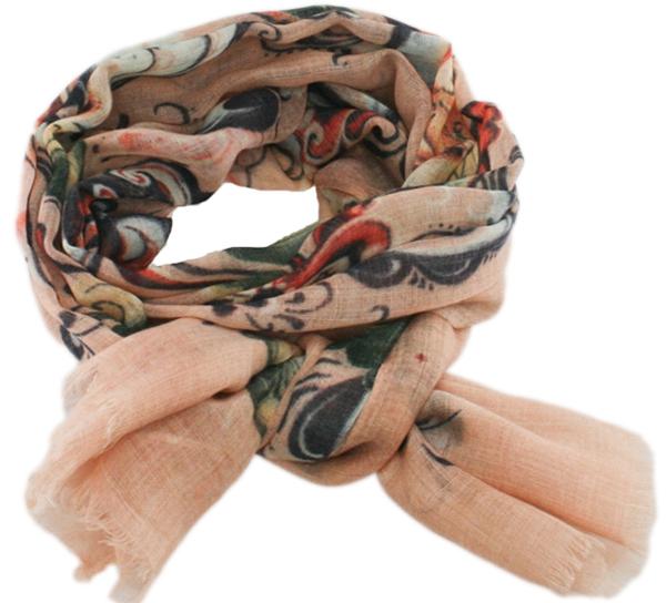 Image of Wool scarf Rosemaling grey apricot