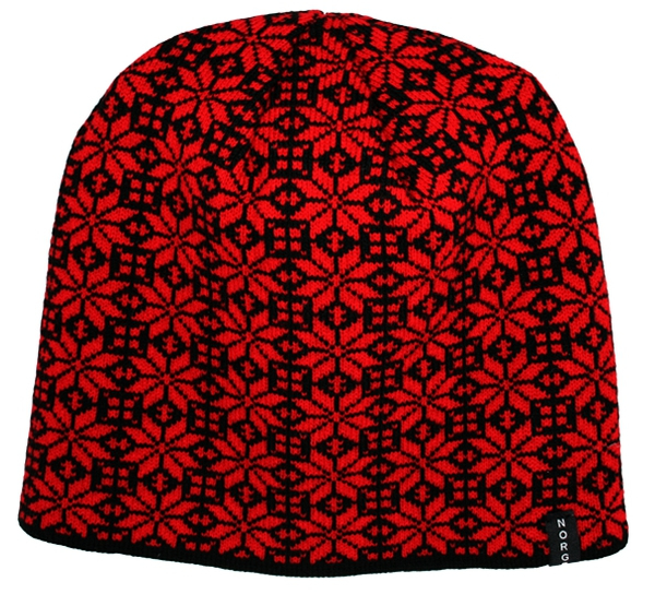 Image of Knitted hat with rose pattern, Norway,black/red