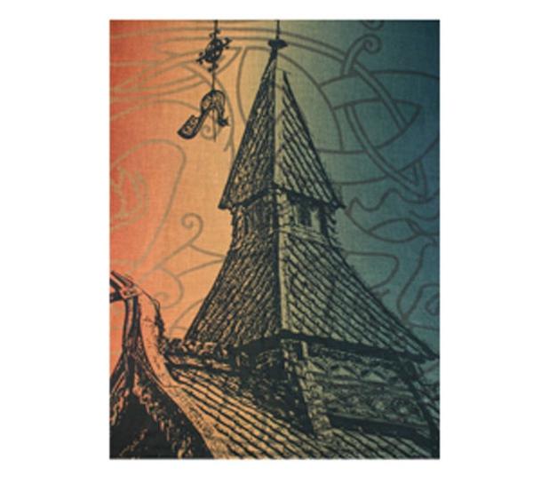 Image of Scarf, stave church design. Green/orange