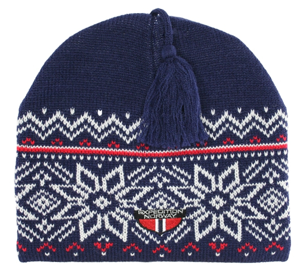 Image of Knitted hat with star border blue/white/red