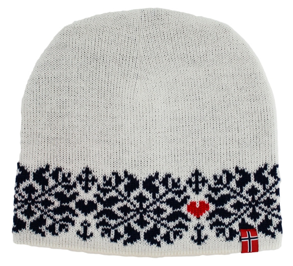 Image of Knitted hat faith hope and love white/blue