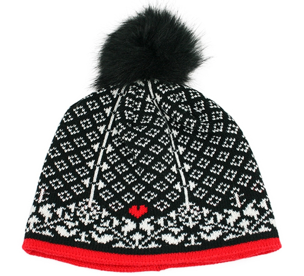 Image of Knitted hat faith hope and love black/white