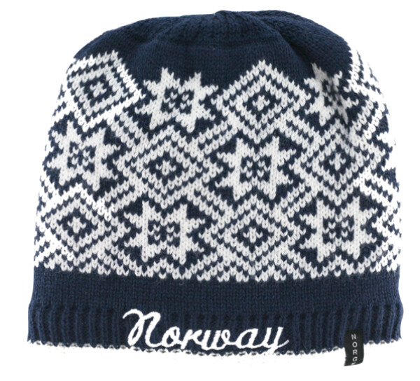 Image of Knitted hat with star pattern and Norway, navy