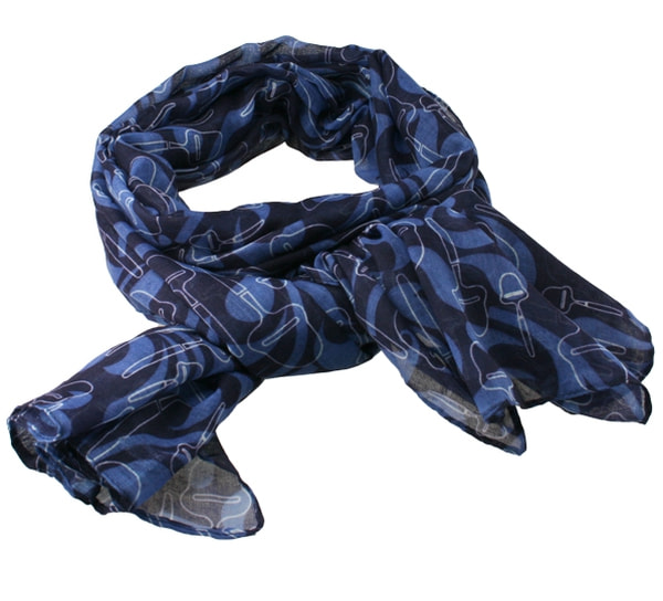 Image of Scarf with cheese slicer design Blue/white