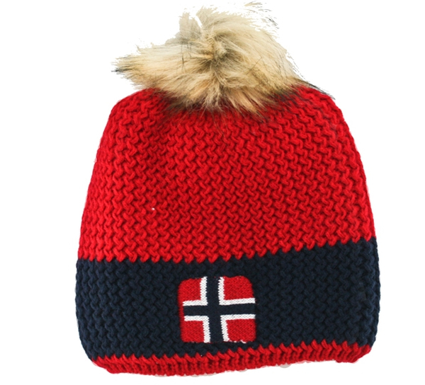 Image of Knitted hat with flag and tassel, red/blue