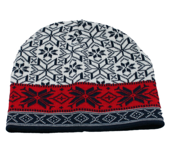 Image of Knitted hat with star pattern, white/blue/red