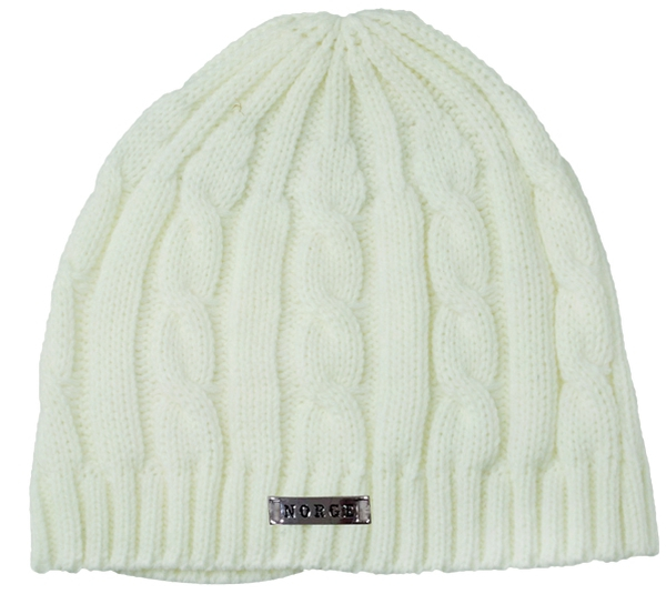 Image of Knitted hat with braid pattern and metal tag