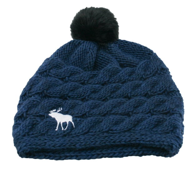 Image of Knitted hat with braid pattern and moose