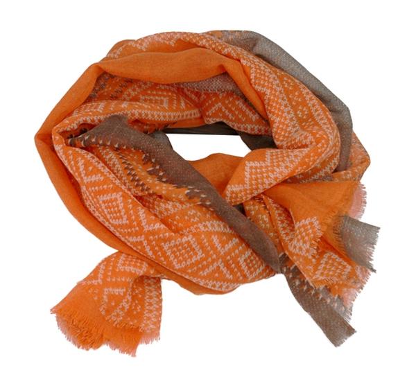 Image of Wool scarf, Marius®, orange/white/brown