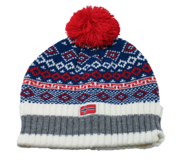 Image of Knitted hat with borders and tassel