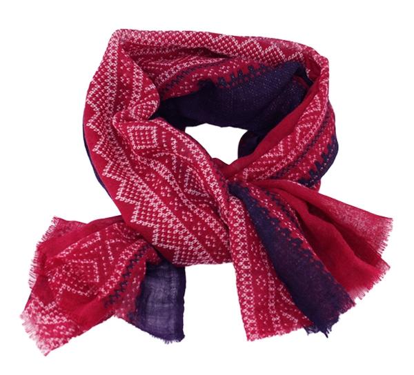 Image of Wool scarf, Marius®, raspberry, red/white/purple