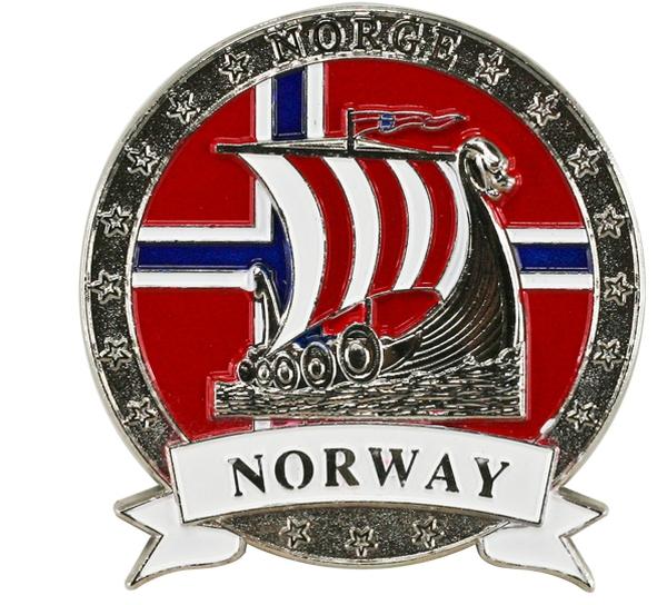 Image of Magnet, metal, silver viking ship, Norway