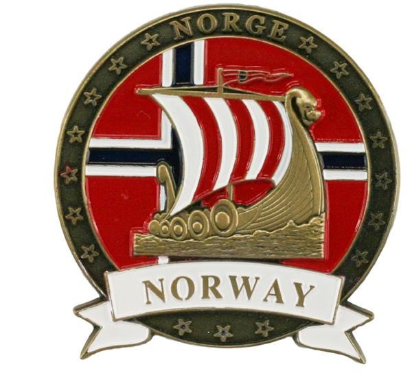 Image of Magnet, metal, gold viking ship, Norway