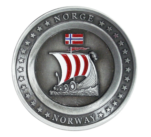 Image of Magnet, round plate with viking ship