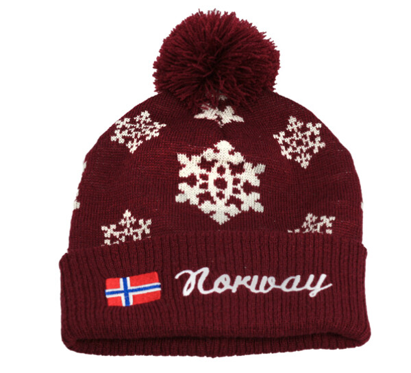 Image of Knitted hat with snowflakes flag Norway burgundy