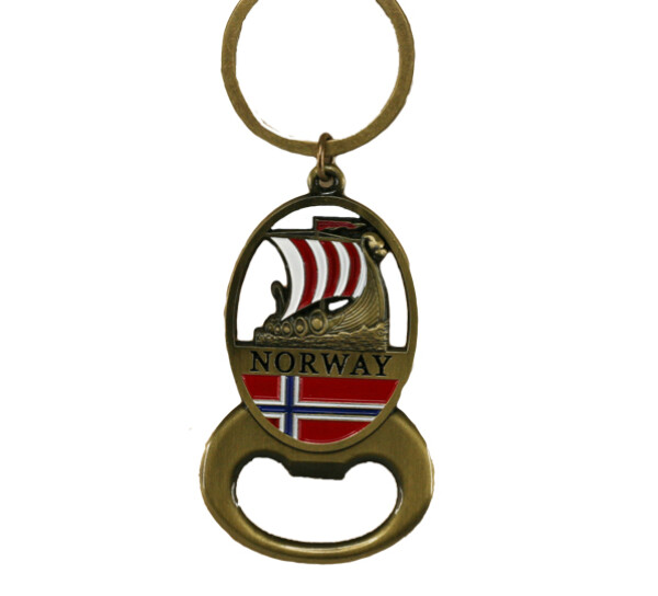 Image of Key chain, gold viking ship