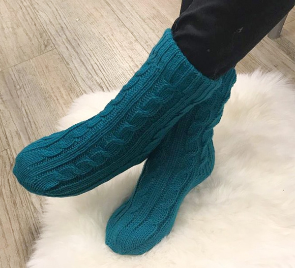 Image of Knitted sock with braid pattern, petrol