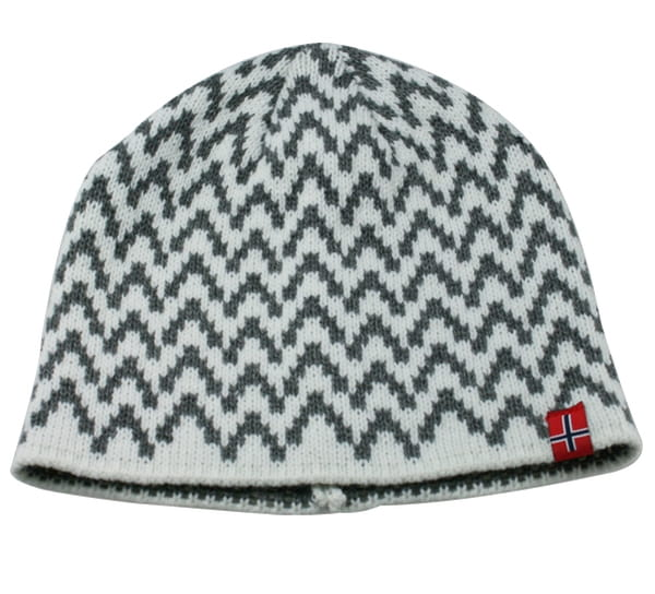 Image of Knitted hat with zigzag pattern white/grey
