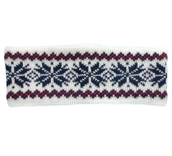 Image of Headband knitted starpattern white/red/blue