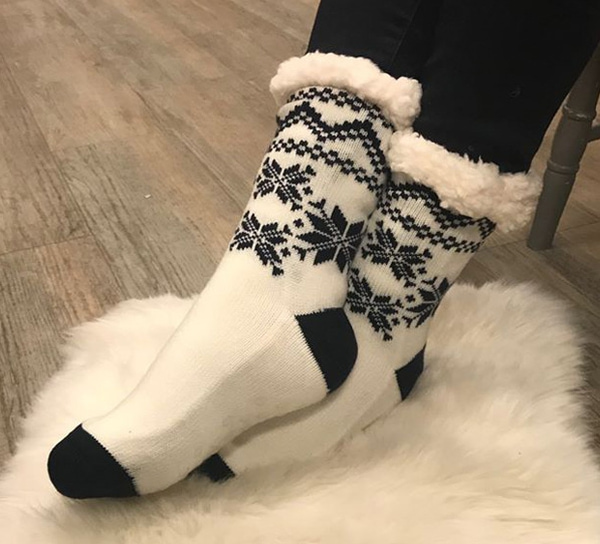 Image of Knitted sock with starpattern white/blue