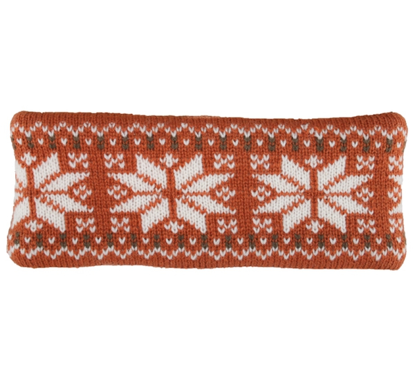 Image of Headband knitted starpattern rust brown/white