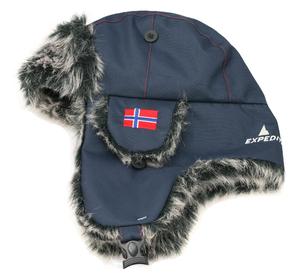 Image of Hat with ear flaps and synthetic fur, blue
