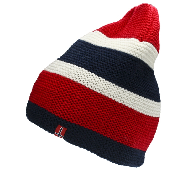Image of Knitted hat with flag stripes and flag