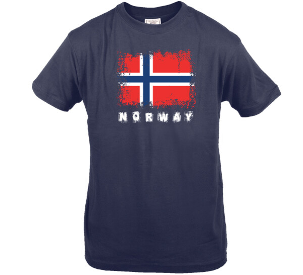 Image of T-shirt Norway and flag, blue