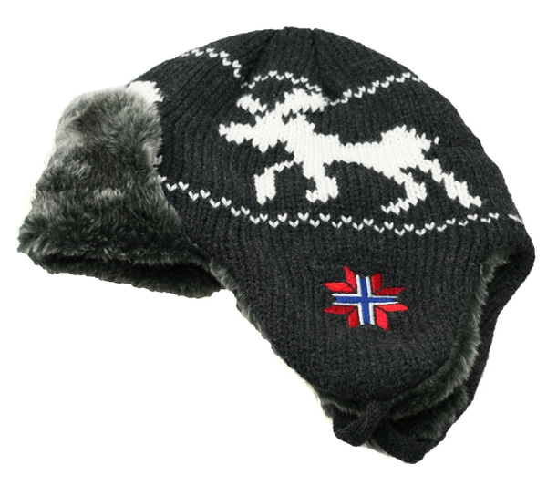 Image of Knitted hat with ear flaps moose and synthetic