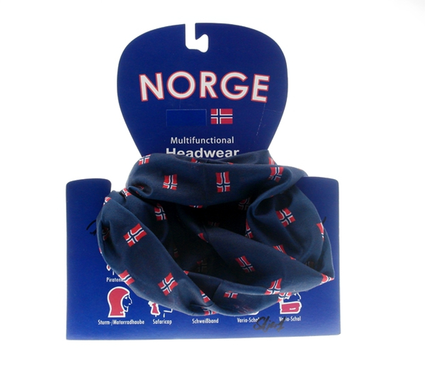 Image of Neck gaiter with small flags navy blue/red/white