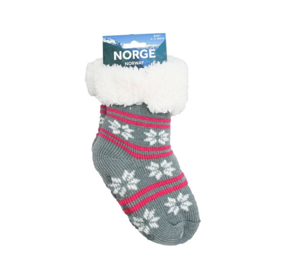 Image of Knitted sock with stars grey/white/pink